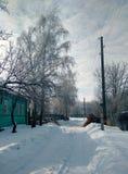 Rua rural coberto de neve imagem de stock royalty free