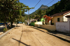 Rua típica na vila de Abrao, Ilha grandioso fotografia de stock