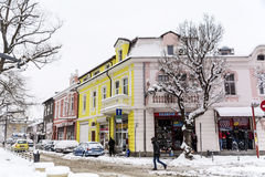 Rua urbana em uma tempestade da neve Fotografia de Stock Royalty Free