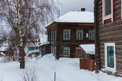 Rua velha da cidade no inverno, Soligalich imagens de stock