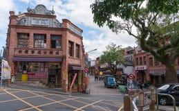 Rua velha de Shenkeng - o capital do Tofu em Taipei, Taiwan imagens de stock royalty free