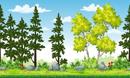 Rual summer landscape with trees and flowers.  Stock Photos