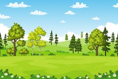 Rual summer landscape with trees and flowers. Vector illustration Royalty Free Stock Photos