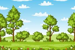 Rual summer landscape with trees and flowers. Vector Stock Photos