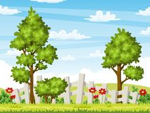 Rual summer landscape with trees and flowers. Vector illustration Stock Image