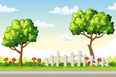Rual summer landscape with trees and flowers. Vector illustration Royalty Free Stock Images