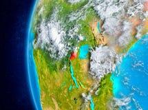 Ruanda auf Erde vom Raum Lizenzfreies Stockfoto