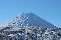 Ruapehu火山惊人的锥体在冬天 免版税图库摄影