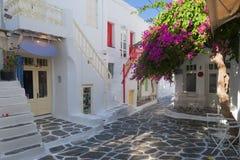 Ruas bonitas de Mykonos, Grécia Fotografia de Stock Royalty Free