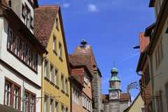 Ruas bonitas no der Tauber do ob de Rothenburg Fotos de Stock