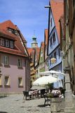Ruas bonitas no der Tauber do ob de Rothenburg Foto de Stock