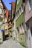 Ruas bonitas no der Tauber do ob de Rothenburg Fotografia de Stock