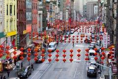 Ruas coloridas do bairro chinês em New York City Imagens de Stock