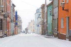 Ruas da cidade de Gniew no cenário do inverno Fotos de Stock Royalty Free