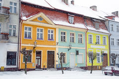 Ruas da cidade de Gniew no cenário do inverno Imagem de Stock