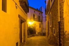 Ruas da noite de Villafames imagens de stock royalty free