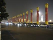 Ruas de China, Pequim na noite Tian An-Men quadrado fotos de stock