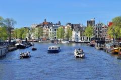 Ruas de Europa, Amsterdão, Amsterdão, verão, curso, caminhada fotos de stock royalty free