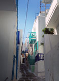 Ruas de Mykonos, Grécia fotografia de stock royalty free