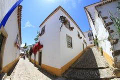 Ruas de Obidos, Portugal Imagens de Stock Royalty Free