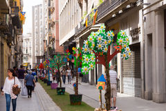 Ruas decoradas de Girona Fotos de Stock Royalty Free