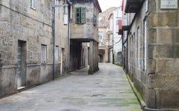 Ruas do centro histórico da cidade da Espanha de Pontevedra imagem de stock