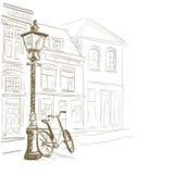 Ruas do europeu do esboço ilustração stock
