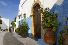 Ruas do Kasbah Oudayas Fotos de Stock Royalty Free