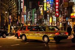 Ruas e Taxy no Tóquio Fotografia de Stock