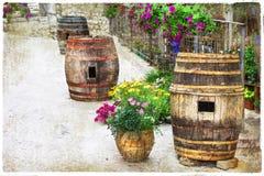Ruas encantadores de vilas italianas velhas Foto de Stock