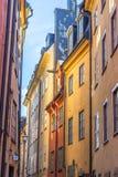 Ruas estreitas de Gamla Stan Stockholm Imagens de Stock Royalty Free