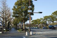 Ruas limpas e bonitas na cidade de Iwakuni foto de stock