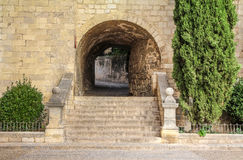 Ruas na cidade espanhola histórica de Gerona Fotografia de Stock
