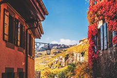 Ruas pequenas de Saint-Saphorin medieval suíço da vila Fotos de Stock
