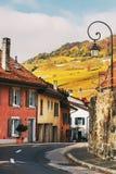 Ruas pequenas de Saint-Saphorin medieval suíço da vila Imagens de Stock Royalty Free