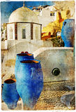 Ruas pictóricos de Santorini ilustração royalty free