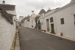 Ruas vazias de Alborobello Fotos de Stock Royalty Free