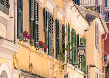 Ruas velhas, cidade de Corfu Foto de Stock Royalty Free