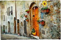 Ruas velhas de cidades medievais de Itlay Fotografia de Stock