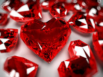 Rubíes del corazón Fotografía de archivo libre de regalías