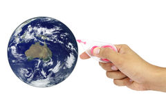 Rub the earth by hand. Elements of this image furnished by NASA Stock Images