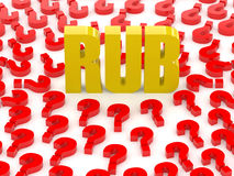 RUB sign surrounded by question marks. Royalty Free Stock Photos