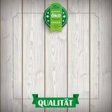 Ruban bio Produkt en bois d'emblème Photographie stock