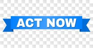 Ruban bleu avec d'ACTE le titre MAINTENANT illustration de vecteur