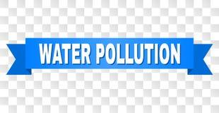 Ruban bleu avec la légende de POLLUTION DE L'EAU illustration stock