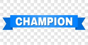 Ruban bleu avec le texte de CHAMPION illustration stock