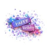 Ruban bleu avec le titre de joyeux anniversaire Illustration de vecteur Photographie stock