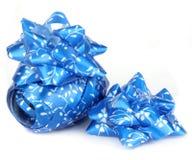 Ruban bleu brillant de satin Images stock