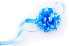 Ruban bleu d'arc de cadeau Photographie stock libre de droits
