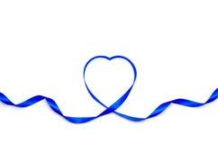 Ruban bleu de coeur Photos stock